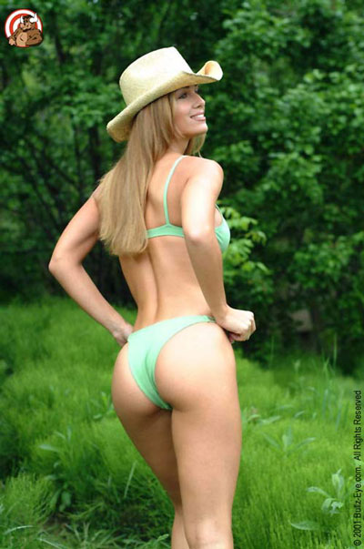 Jana in her cowboy hat and green bikini