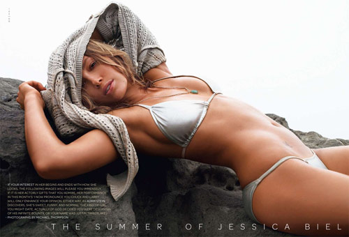 Jessica Biel in swimsuit in GQ July 2007