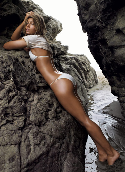 Jessica Biel in water in GQ July 2007