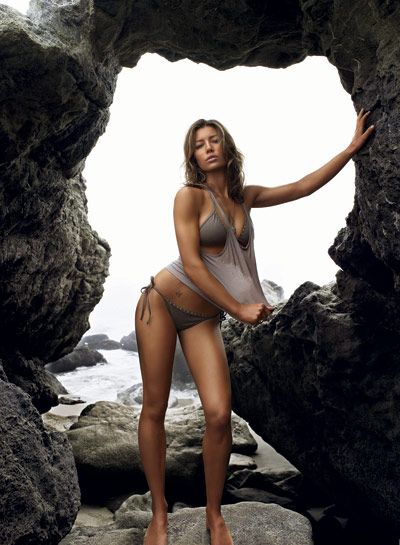 Jessica Biel on rocks in GQ July 2007