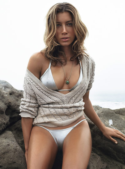 Jessica Biel sitting in sweater in GQ July 2007