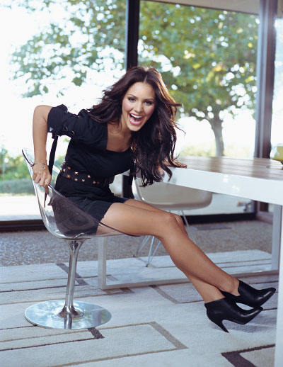 Katharine McPhee sitting and laughing