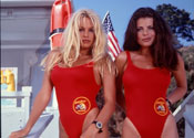 "Pamela Anderson and Yasmine Bleeth on the set of ""Baywatch,"" season 2"