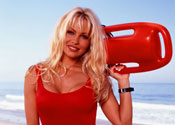 "Pamela Anderson on the set of ""Baywatch,"" season 2"