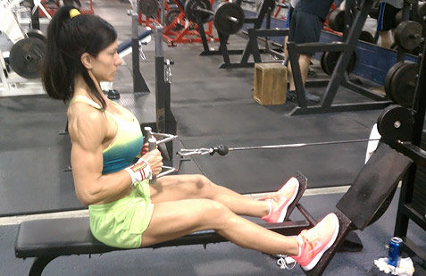Seated close grip cable rows