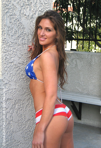 Lovely Jenny in stars and stripes bikini