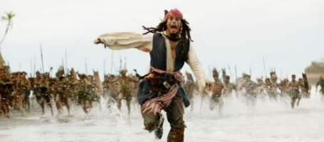 Johnny Depp runs for his life