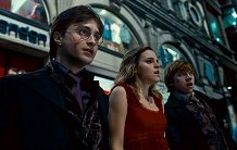 Daniel Radcliffe, Emma Watson, and Rupert Grint face the future in