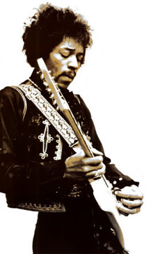 Jimi Hendrix playing a guitar