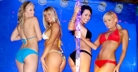 Bikini models and a stripper pole