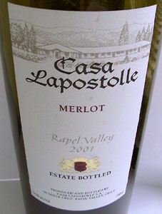 Wine reviews review of casa lapostolle merlot for Casa lapostolle