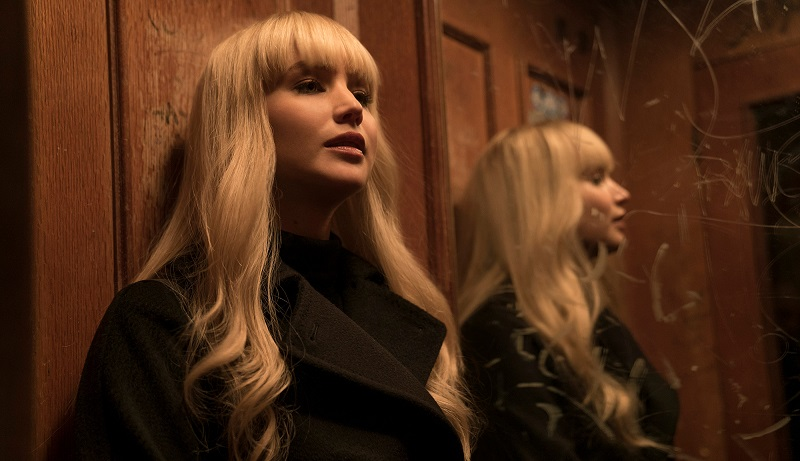 Jennifer Lawrence in Red Sparrow in elevator with mirror