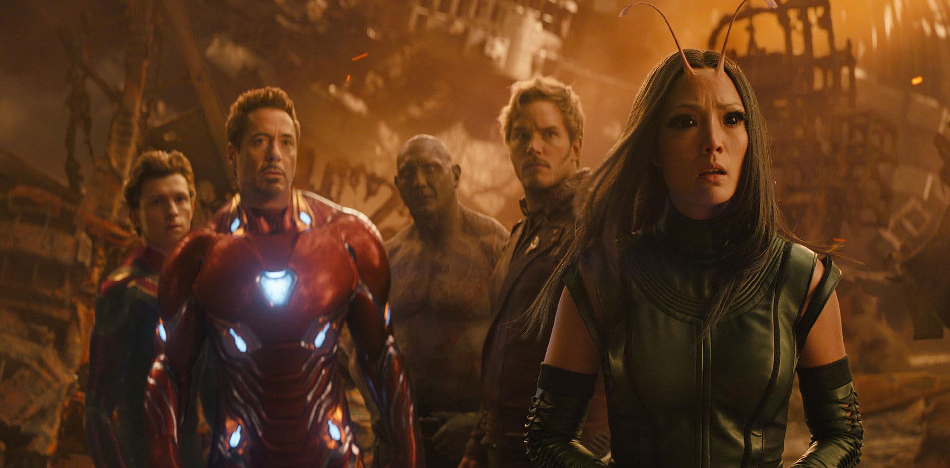 "Robert Downey Jr., Tom Holland and Chris Pratt in ""Avengers: Infinity War"""