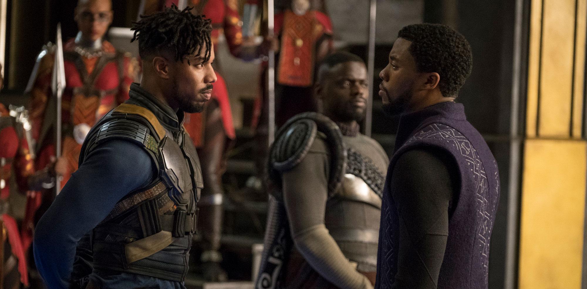 "Chadwick Boseman and Michael B. Jordan in ""Black Panther"""