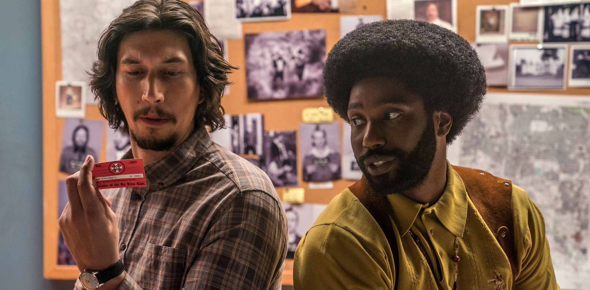 "John David Washington and Adam Driver in ""BlacKkKlansman"""
