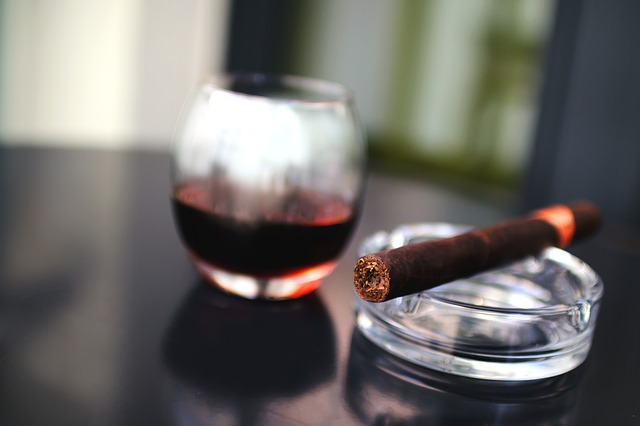 cigar and cocktail glass