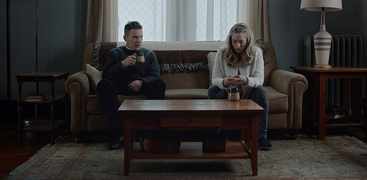 "Ethan Hawke and Amanda Seyfried in ""First Reformed"""