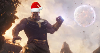 Thanos wearing a Santa hat