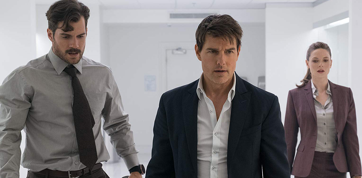"Tom Cruise, Henry Cavill and Rebecca Ferguson in ""Mission: Impossible - Fallout"""