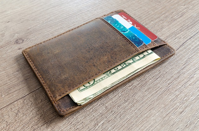 leather wallet with cash and credit cards