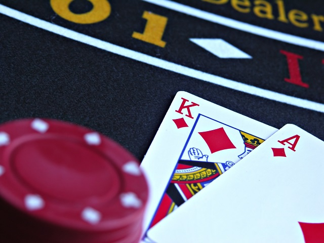 hand of ace and king in game of blackjack