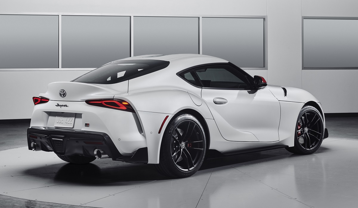 2020 Toyota Supra white rear view