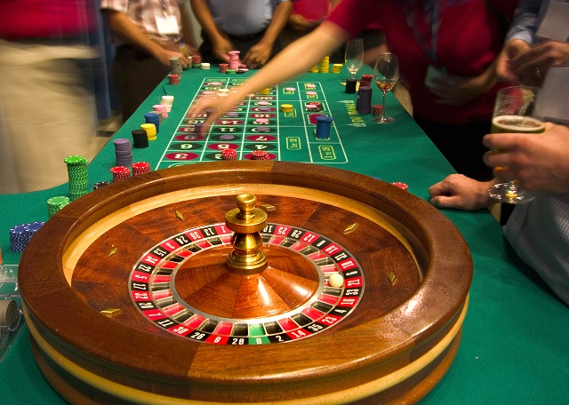 roulette game table in casino