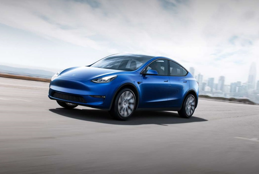blue tesla model y suv