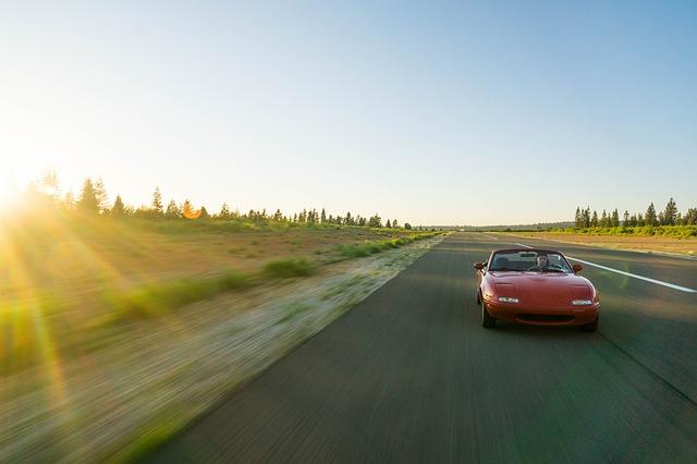 Mazda Miata on the road