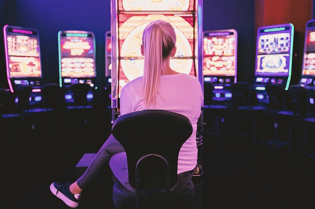 woman playing casino game
