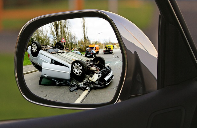 accident in rear view mirror