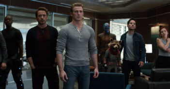 "Robert Downey Jr., Chris Evans and Scarlett Johansson in ""Avengers: Endgame"""