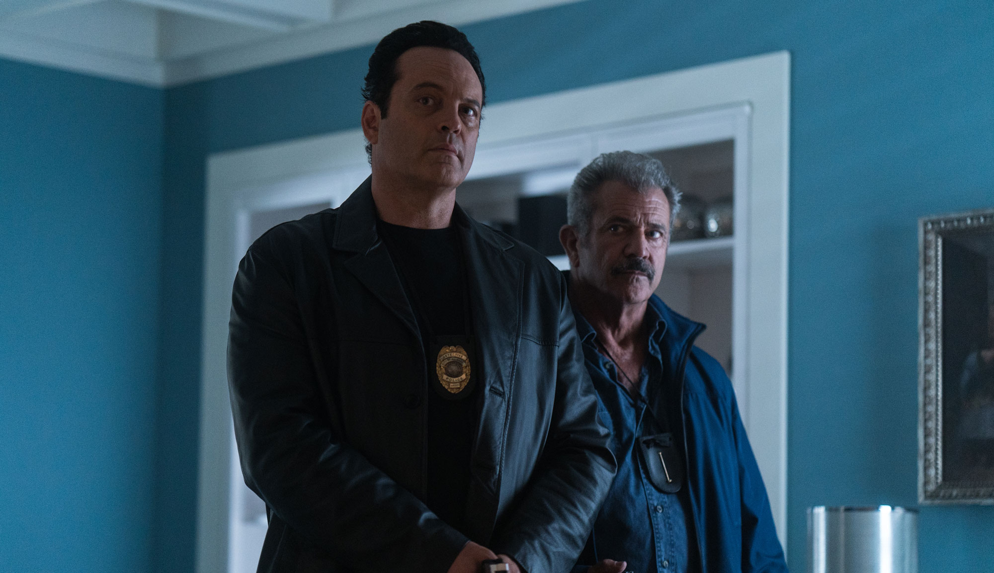 "Vince Vaughn and Mel Gibson in ""Dragged Across Concrete"""
