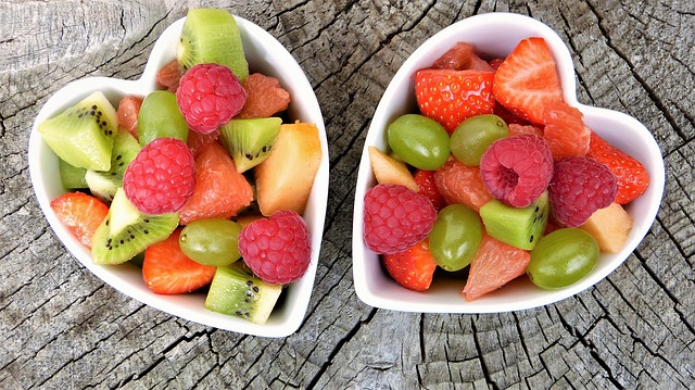 fruit in heart shaped bowls