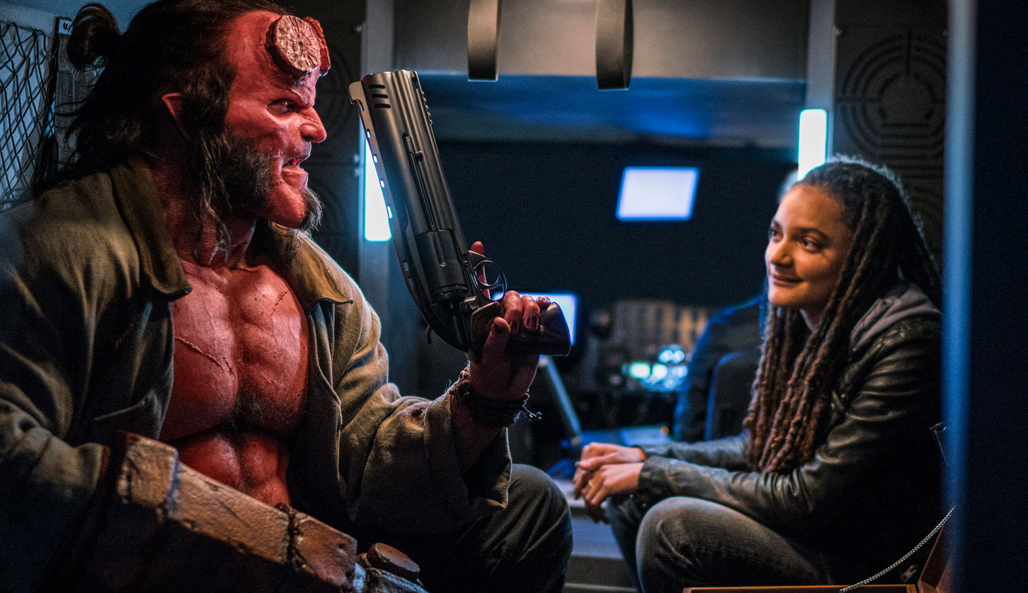 "David Harbour and Sasha Lane in ""Hellboy"""