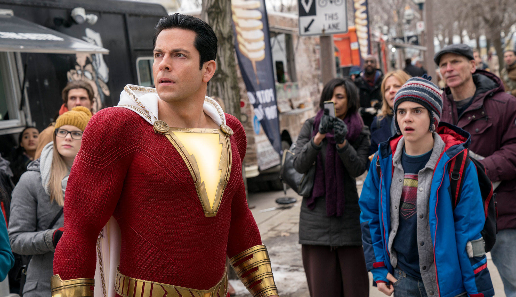 "Zachary Levi and Jack Dylan Grazer in ""Shazam!"""