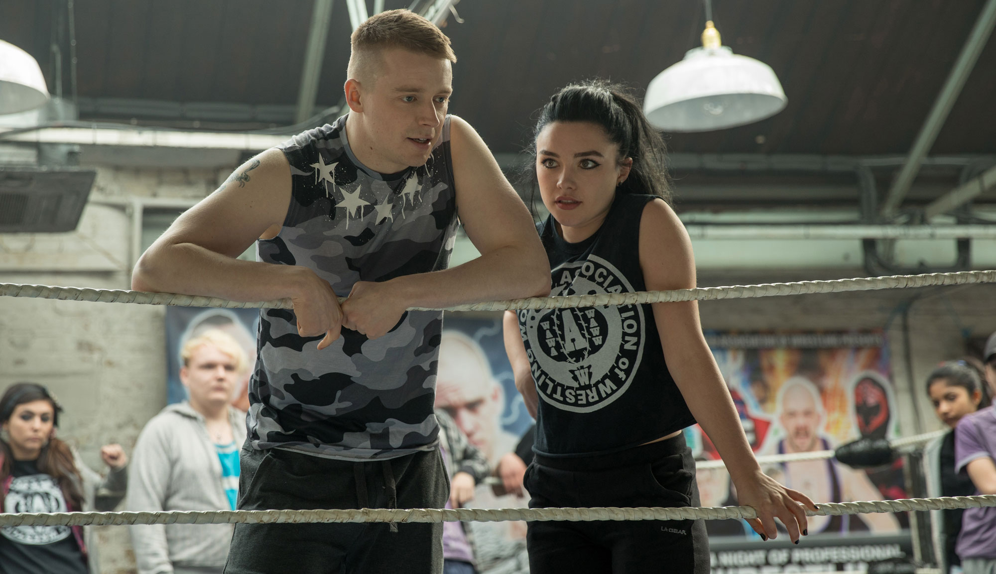 "Florence Pugh and Jack Lowden in ""Fighting With My Family"""