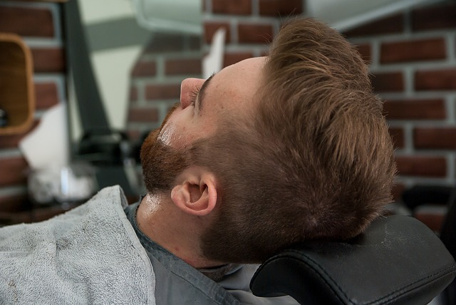 man with beard in barber shop