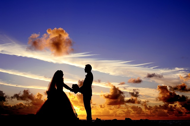 wedding at sunset