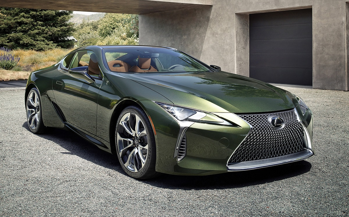2020 Lexus LC 500 Inspiration Series in Nori Green front angle view