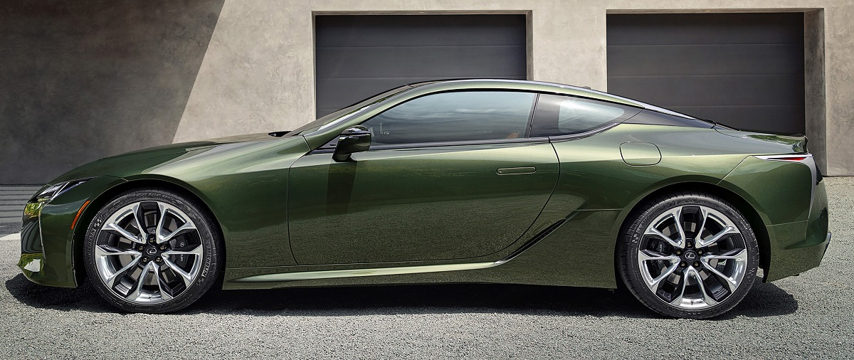 2020 Lexus LC 500 Inspiration Series in Nori Green side view