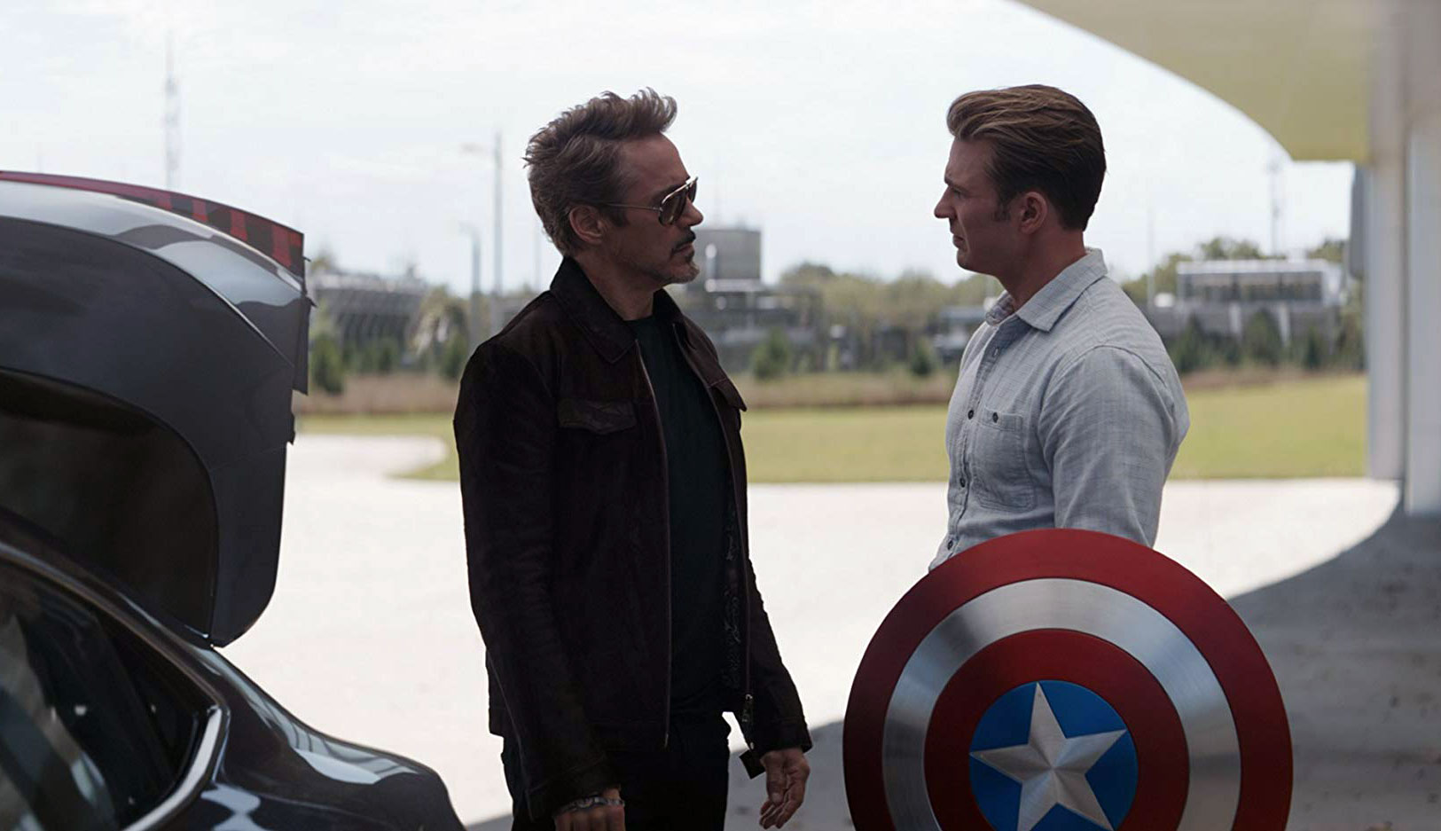 "Robert Downey Jr. and Chris Evans in ""Avengers: Endgame"""