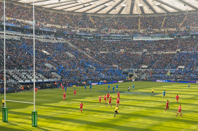 rugby in a stadium