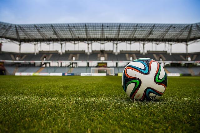 soccer ball in soccer stadium
