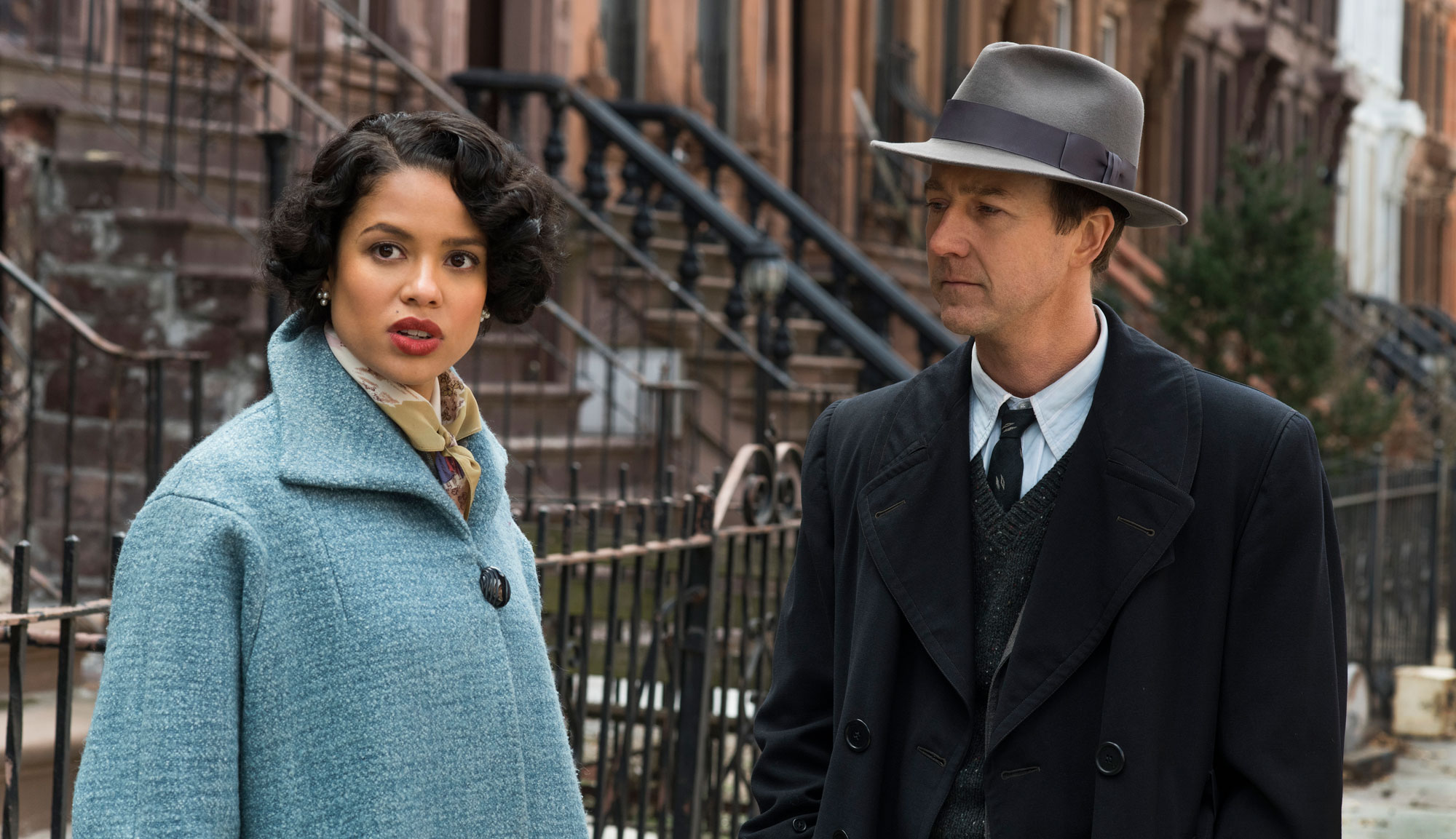 "Edward Norton and Gugu Mbatha-Raw in ""Motherless Brooklyn"""