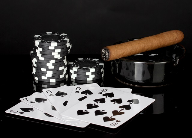 poker cards cigar chips