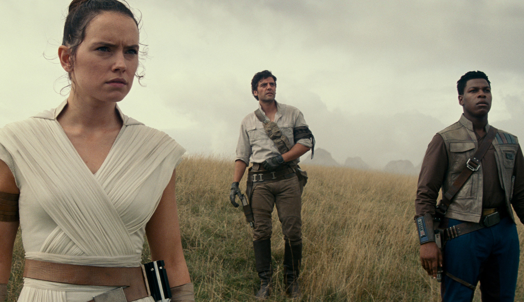 "Daisy Ridley, Oscar Isaac and John Boyega in ""Star Wars: The Rise of Skywalker"""