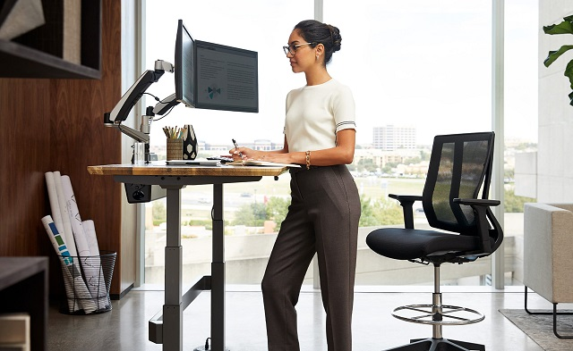 VariDesk home woman working
