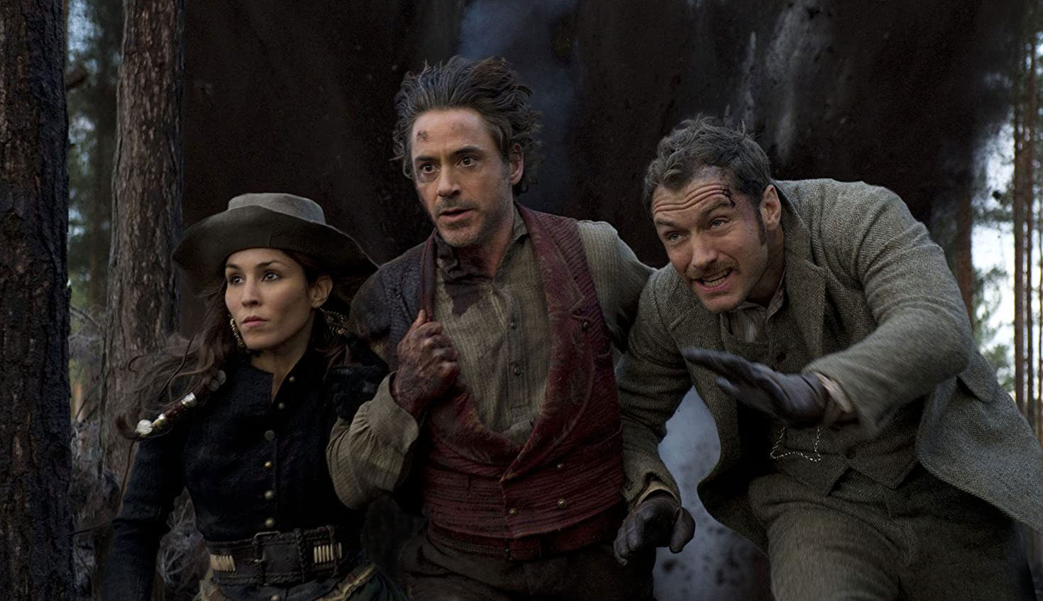 "Robert Downey Jr., Jude Law and Noomi Rapace in ""Sherlock Holmes: A Game of Shadows"""