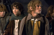 "Elijah Wood, Sean Astin, Dominic Monaghan and Billy Boyd in ""The Fellowship of the Ring"""